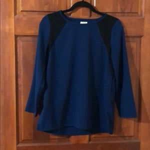 J.  Crew Factory Dark Teal Blue & Black Blouse